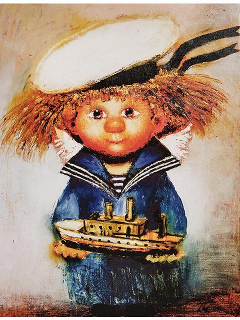 Картина по номерам 20x30 Солнечный ангел с корабликом