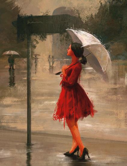 Алмазная вышивка 40х50 квадратная Девушка в красном платье под белым зонтом