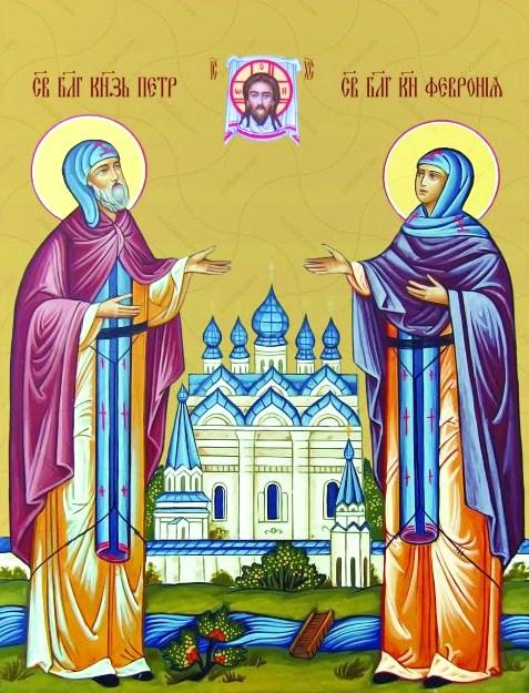 Алмазная мозаика 30x40 Святой князь Петр и княгиня Феврона
