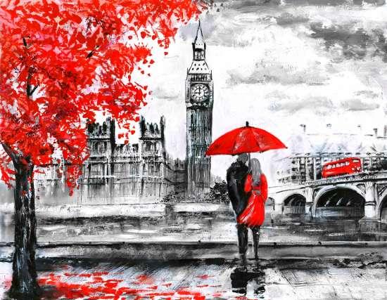 Картина по номерам 40x50 Пара на фоне Вестминстерского дворца